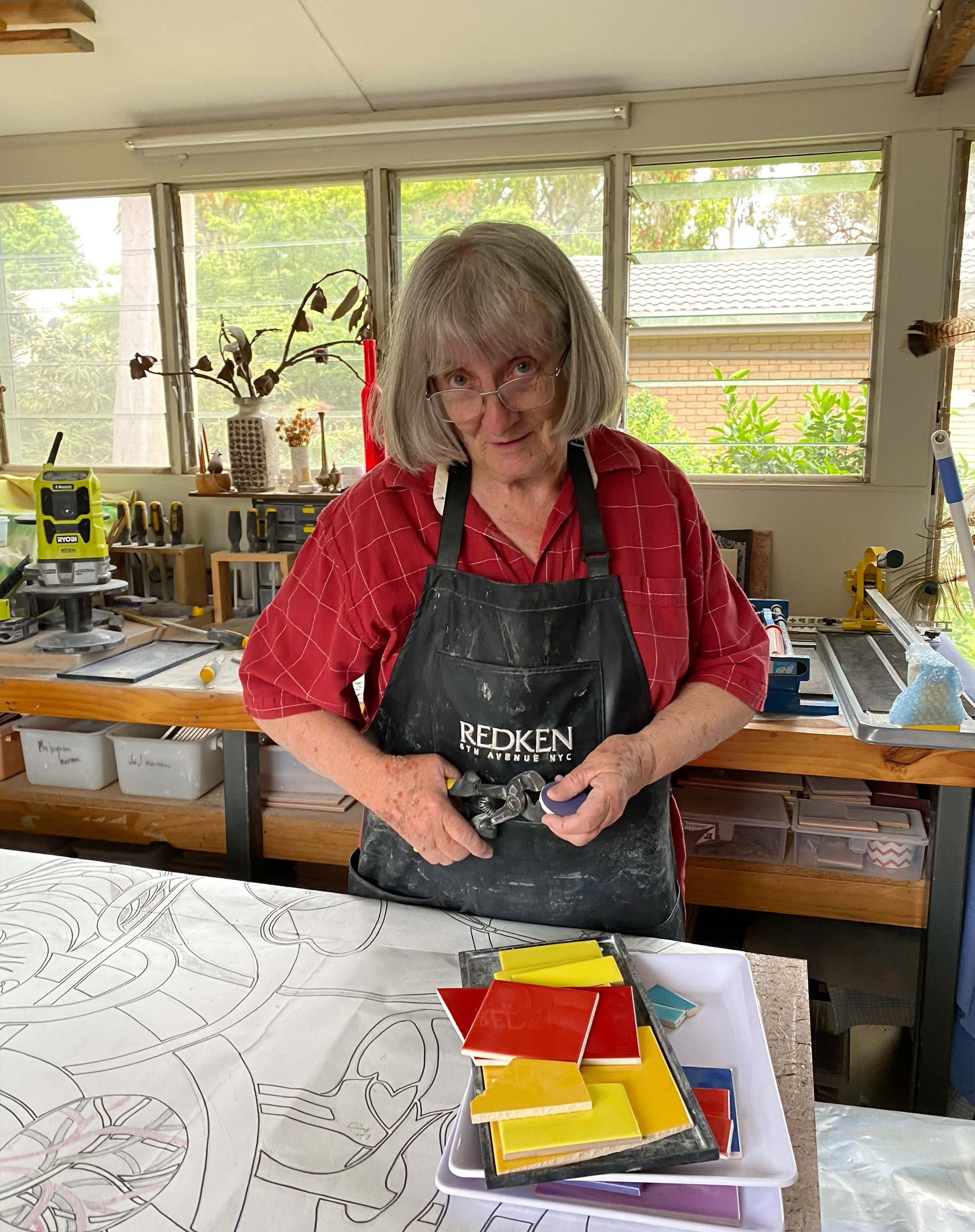 Pam Fredericks at work in her studio creating Symbols of Practice